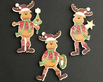 Christmas Scrapbooking Cut Outs. Set of Three. Flat Backs Cutouts. Holiday Scrapbook Decorations. Wood Cut Outs. Wood Embellishments.