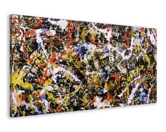 Jackson Pollock - Convergence - Reproduction Canvas Print Wall Art / Framed or Frameless / Available in 1, 3, and 5 Panel versions