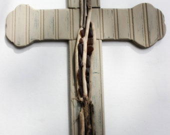 Coastal Wall Cross with Driftwood and Seaglass  , One of a Kind Nautical Home Decor