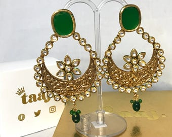 Kundan large chaand bali earrings