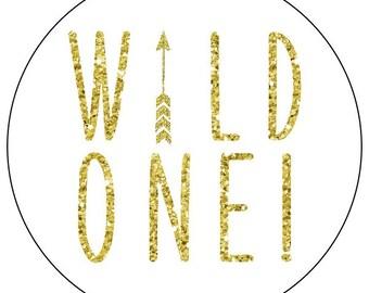 gold 1st birthday stickers, gold wild one first birthday stickers, gold arrow 1st birthday labels, gold glitter arrow birthday stickers