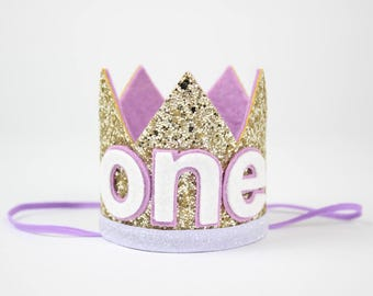 First Birthday Crown | First Birthday Outfit Girl | First Birthday Hat | Birthday Glitter Crown | 1st Birthday Hat | Pale Gold + Purple ONE