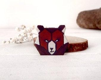 Little bear wooden brooch