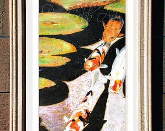 """Japanese Garden's Seattle Koi Fish Art Framed 12x22"""" Matted Print Signed and Numbered"""