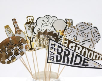 Wedding Photo Booth Props in Black, White and Gold Glam! Ready to Ship!