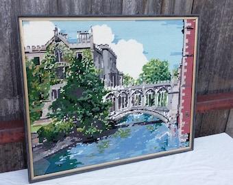 Vintage Framed Tapestry River Arched Bridge Cloisters