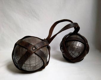Pair of vintage brown leather strap with balls / sports gift / Grandpa dad / activity was plein air.