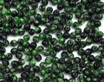 4mm Green and Black Swirl Glass Bead (50 Pcs) #741