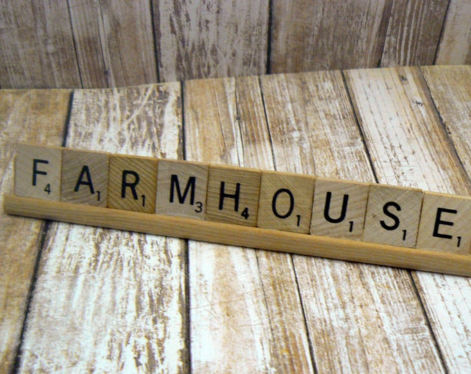Farmhouse Scrabble Tile Rack Signage Personal Business Display Decor Plaque