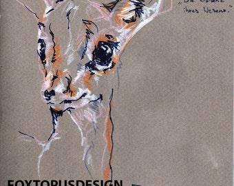 Deer Sketch Art Print - Printable Art - Animal print - Decor