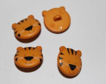 Fancy children Brown Tiger patterned button
