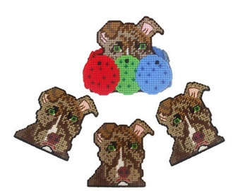 Brindle Pit Bull Coaster Set Plastic Canvas PDF PATTERN ONLY  **Not Finished Product**