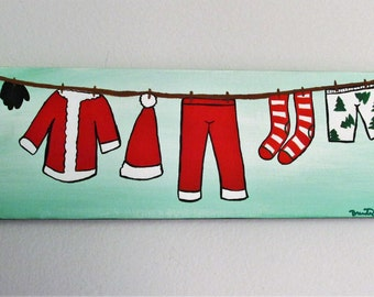 "Santa's Clothesline - 12"" x 4"" Acrylic on Stretched Canvas"