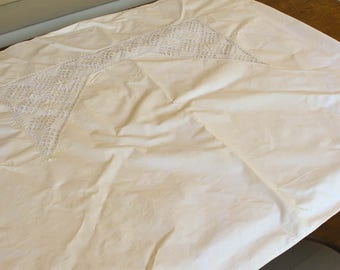 Antique Crib Duvet Cover, Vintage Lace Sham, Monogram SR