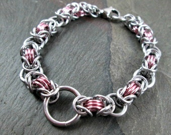 Chainmaille Bracelet - Byzantine Chainmail - Silver and Pink - Aluminum Byzantine - Chainmaille Jewelry