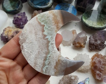 Large Amethyst Agate Crescent Moon Crystal Carving