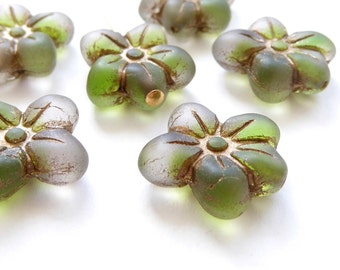 6 x 14x13mm Green, Clear and Bronze Puffy Daisy Flower Czech Glass Beads, Green Flower Beads, Bronze Flower Beads FLW0126
