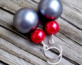 Large Pearl Earrings Red and Blue Pearl Earrings Sterling Silver Pearl Earrings Big Pearl Earrings Red Pearl Earrings Pearl Dangle Earrings