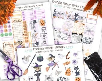 October Planner Stickers, Happy Planner Stickers, Happy Planner Monthly Kit, Autumn stickers, October kit, Halloween Printable stickers