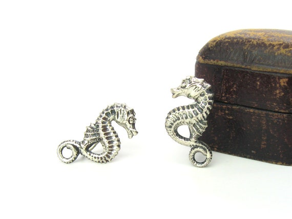 Vintage Sterling Silver Seahorse Earrings Signed Beau