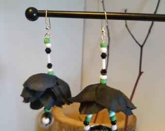 """Green white and black flower earrings """" Lana"""""""