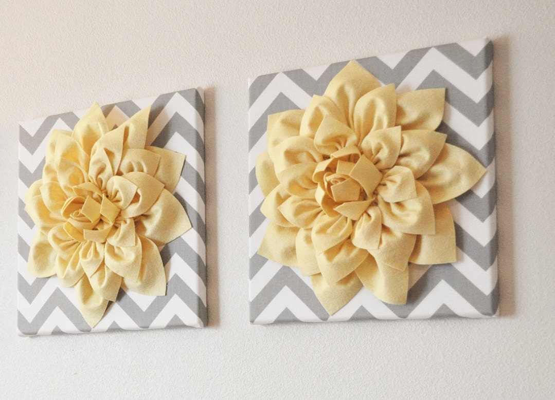 TWO Wall Flowers Light Yellow Dahlia on Gray and White