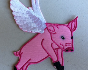Pigs Do Fly! Pink pig iron on patches.