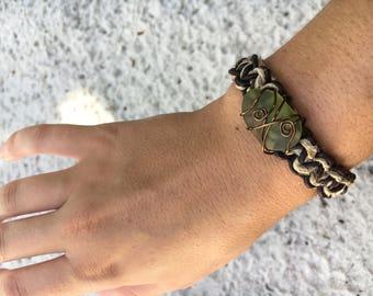 Hemp & leather woven bracelet with sea glass