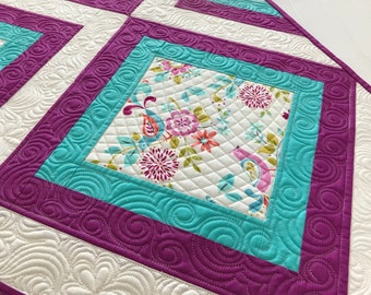 Quilted Table Runner Spring Table Topper Runner Heavily Quilted