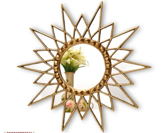 "Gold Star Mirror 23.6""- Decorative Wall Mirror Cuzco style 'Gold Star' - Starburst Mirror - Wall Decoration - Home Decor - Bathroom Mirrors"