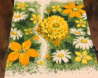 Vintage 60s Paper Tablecloth - Garden Party, Orange Yellow White Wildflowers with Coordinating Paper Plates - (B833)