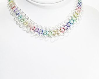 Chainmail Necklace Rainbow Necklace Rainbow Chainmail Necklace Chainmail Jewelry Gift For Her Chain Necklace Fantasy Jewelry