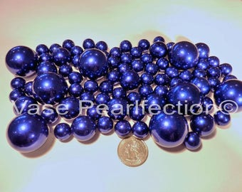 All Royal Blue Pearls - Jumbo/Assorted Sizes Vase Fillers for Centerpieces