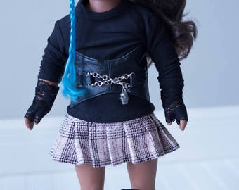 Custom made gothic preppy look for 18in dolls such as American Girl,Our Generation,and My Life