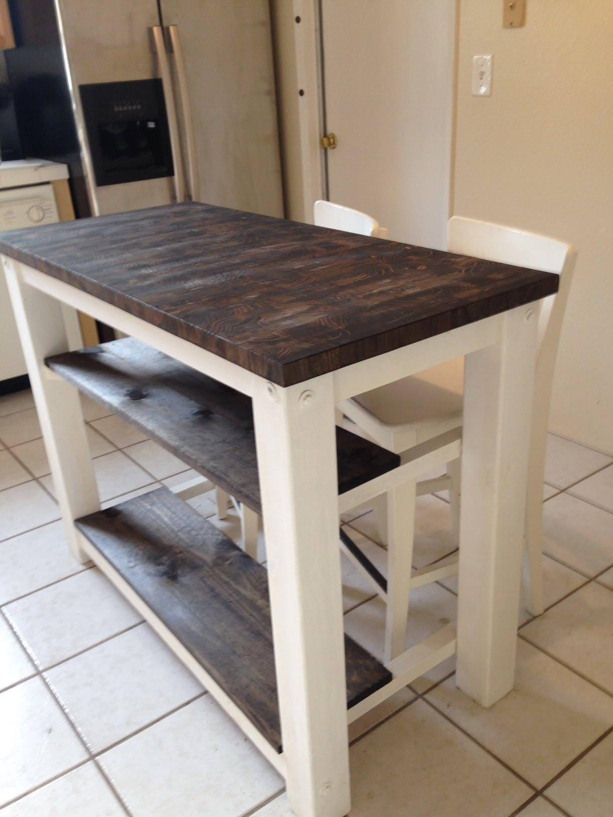 2 half shelves End Grain Kitchen Island butcher block top with