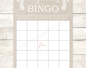 baby shower bingo game card printable DIY kraft paper pink floral gender neutral baby bingo digital shower games - INSTANT DOWNLOAD