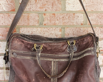 Vintage Leather Land Leather Carry on Messenger Laptop Briefcase Bag Distressed