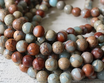 8mm Round African Opal - Impression Jasper - Mala Beads For Jewelry Making - Mala Supplies - 8mm Gemstone (108 beads or 8 or 16 Inch Strand)