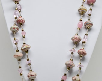 Long Paper Mache Beaded Necklace