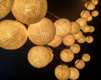 100 Bulbs White Cotton ball string lights for Patio,Wedding,Party and Decoration