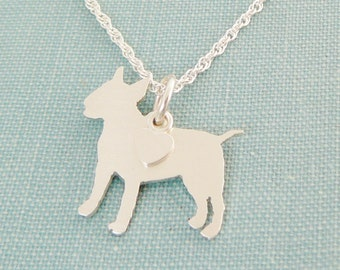 Bull Terrier Dog Necklace, Sterling Silver Personalize Bull Pendant, Breed Silhouette Charm, Resue Shelter