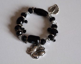 BRACELET GLASS BEADS CHARMS AND BLACK