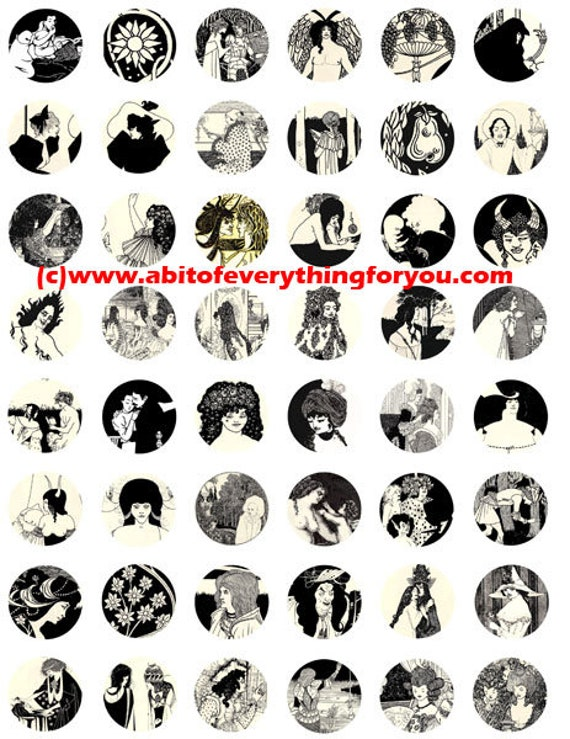 vintage 1800s deco art illustrations clip art collage sheet digital download 1 inch circles graphics images craft printables pendants