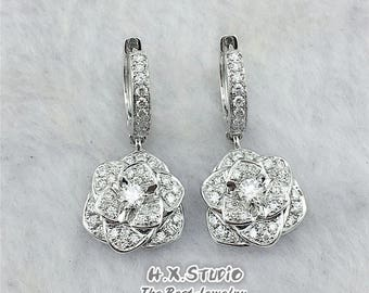 """Unique 3D """"Rose Flower-Shape"""" Diamond Dangle Drop Hoop Earrings in Solid 18K Gold, Wedding, Valentine, Anniversary, Fiancé, Gift for Her"""