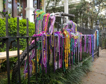 Mardi Gras New Orleans Bead Bike Greeting Cards