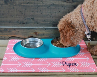 Personalized Arrows Pet Placemat  | Water Resistant Bowl Mat  | Best Custom Puppy Gift by Three Spoiled Dogs