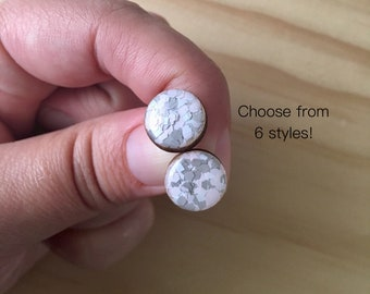 Galah Glitter Resin / Wood Stud Earrings • Various Sizes • Surgical Steel • Hypoallergenic • Pink • White • Grey   • Statement