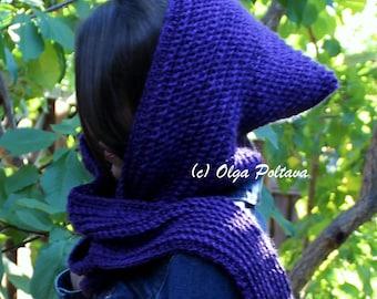Crochet Hooded Scarf Pattern, Crocheted Hood Scarf, Very Easy Crochet Pattern, Instant PDF Download