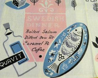 Vintage Kitchen Tea Towel  MCM Pink & Aqua MWT Swedish Dinner