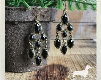Ebony Rain. Dangle Earrings -- (Vintage-Style, Black, Gold, Elegant, Holiday Jewelry, Bridesmaid Gift Under 10, Rustic Chic, Chandelier)